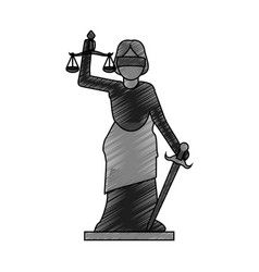 Color blurred stripe of goddess of justice symbol vector
