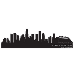 los angeles california skyline detailed silhouette vector image vector image
