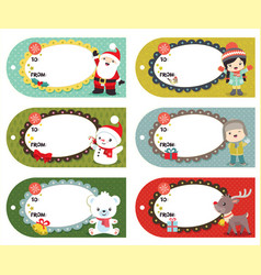 set of six holiday christmas gift tags vector image