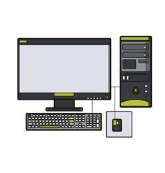 Symbol desktop computer Icon for web site Line vector image