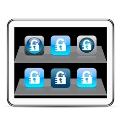 Unlock blue app icons vector image vector image