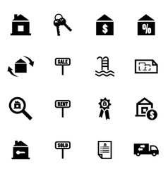 black real estate icon set vector image vector image