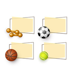 cartoon sport equipment banners set vector image