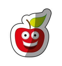 colorful red kawaii fruit apple happy icon vector image vector image