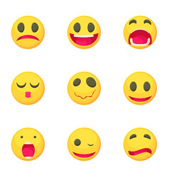 emoticons icons set cartoon style vector image vector image