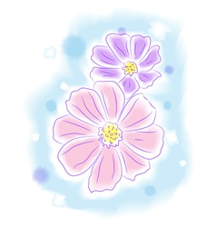 Flowers water color style painting vector image