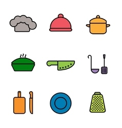 kitchen restaurant and culinary icons vector image