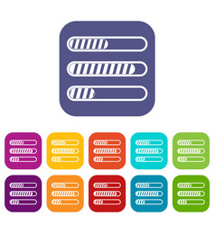 Sign horizontal columns load icons set vector