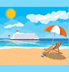 Tropical beach with cruise ship vector