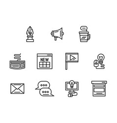 web blog black line icons set vector image