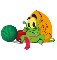 a green snail ute cartoon snail on white vector image