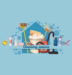 cleaning service banner horizontal cartoon style vector image vector image