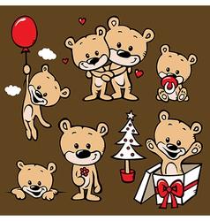 cute bear family cartoon vector image vector image