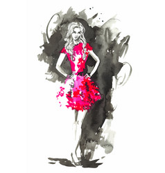 fashion woman in red watercolor vector image vector image