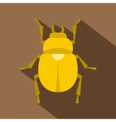 Gold scarab beetle icon flat style vector