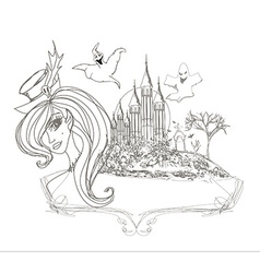 Halloween witch - doodle frame vector image vector image