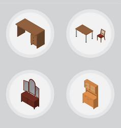 Isometric furniture set of table cupboard drawer vector