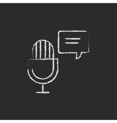 Microphone with speech bubble icon drawn in chalk vector image