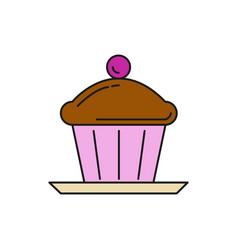 chocolate cupcake food thin line icon vector image