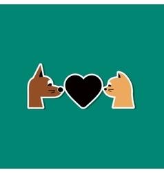 paper sticker on stylish background cat dog heart vector image
