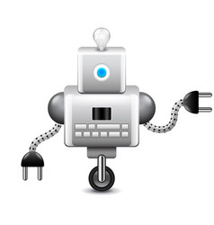 robot on wheel and with lightbulb isolated on vector image vector image