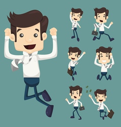 Set of businessman leaping characters poses vector image vector image