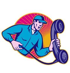telephone repairman holding phone vector image vector image