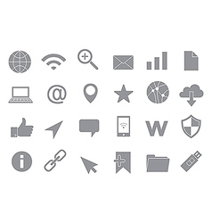 Web connection gray icons set vector image vector image