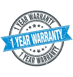 1 year warranty blue round grunge vintage ribbon vector