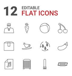 12 closeup icons vector