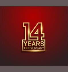 14 years golden anniversary line style isolated vector