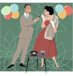 1950s party scene vector