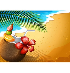 A refreshing coconut juice drink at the beach vector image