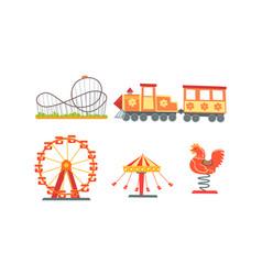 Amusement park attractions collection funfair vector