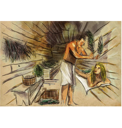 Banya - sauna an hand drawn freehand drawing vector