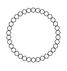 black and white honeycomb graphic round frame vector image