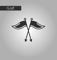 black and white style icon golf flags vector image