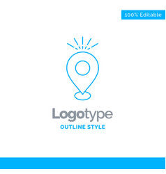 Blue logo design for location pin camping holiday vector