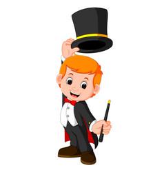boy magician cartoon vector image
