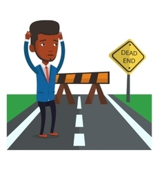 Businessman looking at road sign dead end vector
