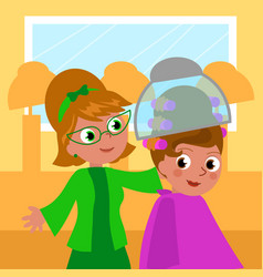 Cartoon 60s hairdresser and woman vector