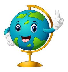 Cartoon world globe pointing vector