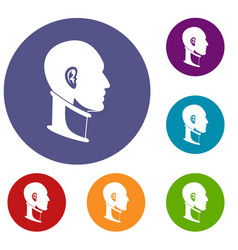 Cervical collar icons set vector