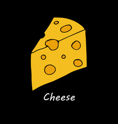 cheese on black background vector image