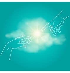 close up human hands touching with fingers vector image