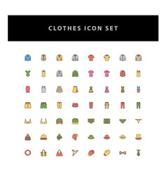 clothes icon set with filled outline style design vector image