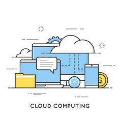 Cloud computing data storage web services flat vector