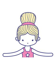 Colorful girl dancing ballet with bun hair design vector
