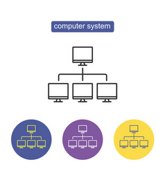 computer system outline icon vector image