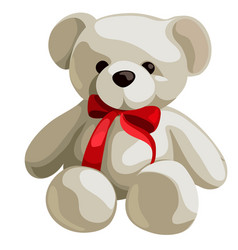 cute soft teddy bear with red ribbon bow isolated vector image